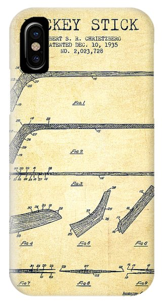 Puck iPhone Case - Hockey Stick Patent Drawing From 1935 by Aged Pixel