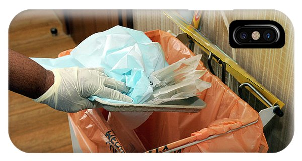 Rubbish Bin iPhone Case - Hospital Waste Disposal Routine by Public Health England/science Photo Library