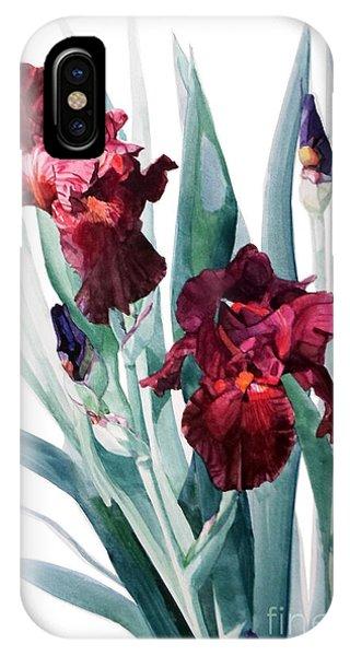 Dark Red Tall Bearded Iris Donatello IPhone Case