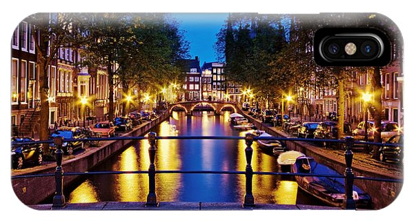 IPhone Case featuring the photograph Leidsegracht Canal At Night / Amsterdam by Barry O Carroll
