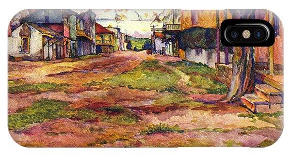 Main Street Of Early Spanish California Days San Juan Bautista Rowena M Abdy Early California Artist IPhone Case