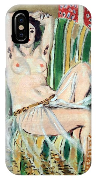 Matisse's Odalisque Seated With Arms Raised In Green Striped Chair IPhone Case