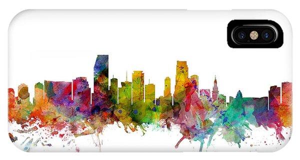 Miami iPhone Case - Miami Florida Skyline by Michael Tompsett