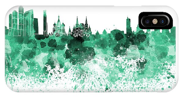 Moscow Skyline White Background IPhone Case