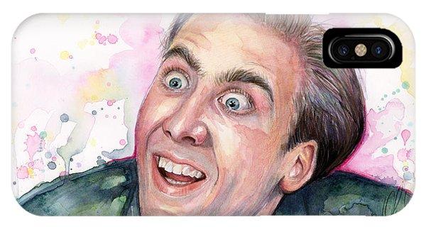 Celebrities iPhone Case - Nicolas Cage You Don't Say Watercolor Portrait by Olga Shvartsur