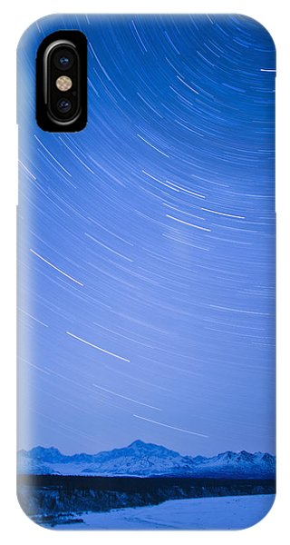 Winter iPhone Case - Night Time View Of Star Trails Over Mt by Kevin Smith