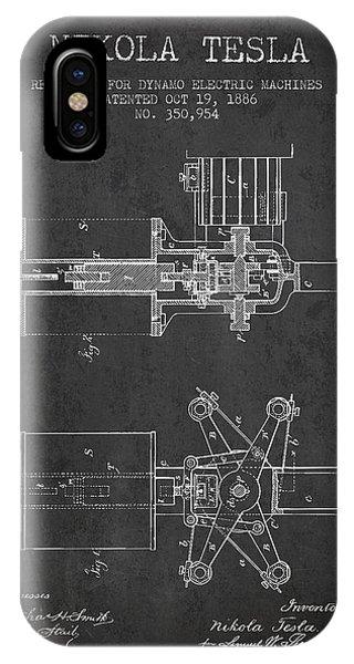 Nikola Tesla Patent Drawing From 1886 - Dark IPhone Case