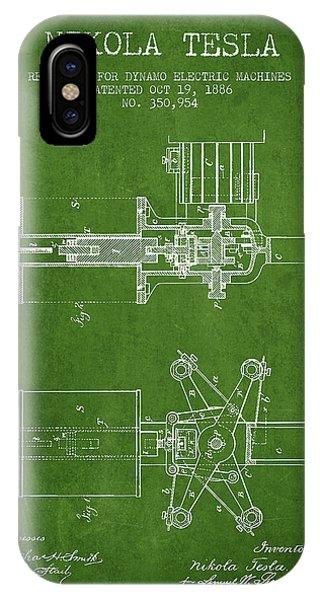 Nikola Tesla Patent Drawing From 1886 - Green IPhone Case