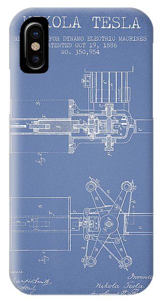 Nikola Tesla Patent Drawing From 1886 - Light Blue IPhone Case