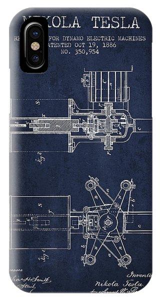 Nikola Tesla Patent Drawing From 1886 - Navy Blue IPhone Case