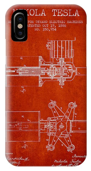 Nikola Tesla Patent Drawing From 1886 - Red IPhone Case