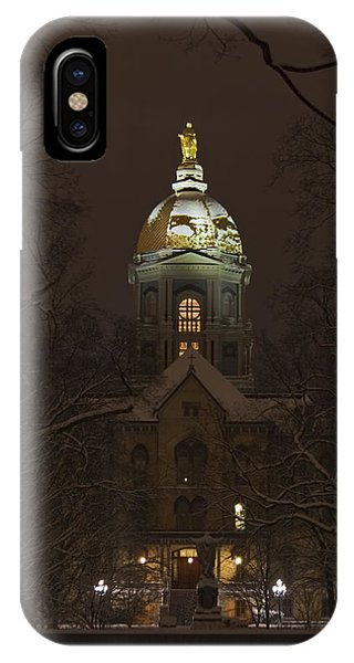 Irish iPhone Case - Notre Dame Golden Dome Snow by John Stephens