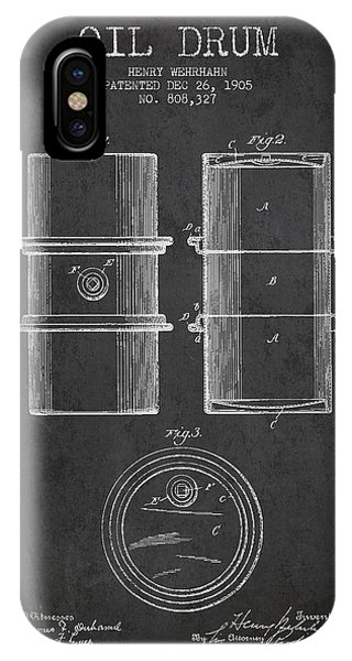 Drum iPhone Case - Oil Drum Patent Drawing From 1905 by Aged Pixel