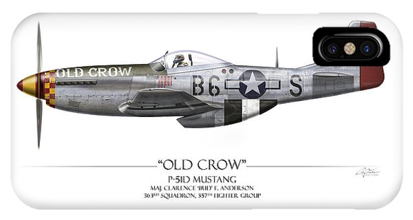 Airplane iPhone Case - Old Crow P-51 Mustang - White Background by Craig Tinder