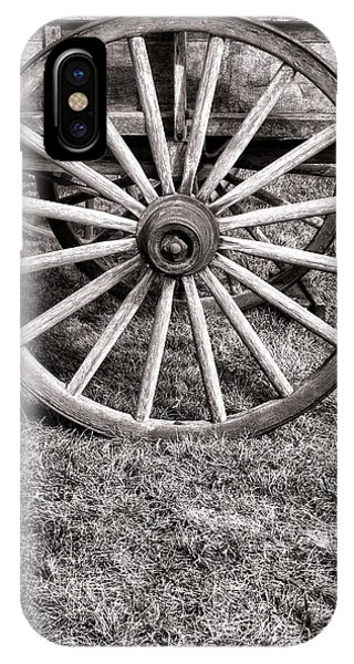 Wagon Wheel iPhone Case - Old Wagon Wheel On Cart by Olivier Le Queinec