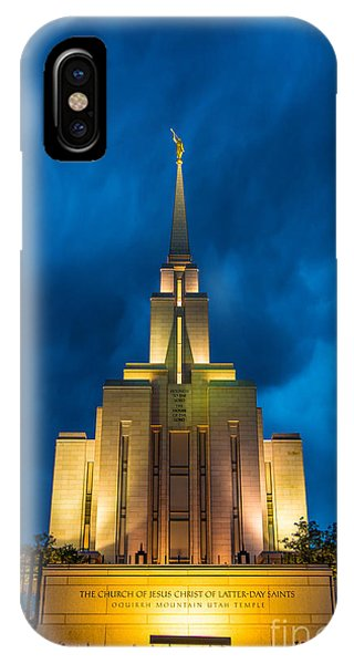 Oquirrh Mountain Lds Temple Evening Thunderstorm IPhone Case