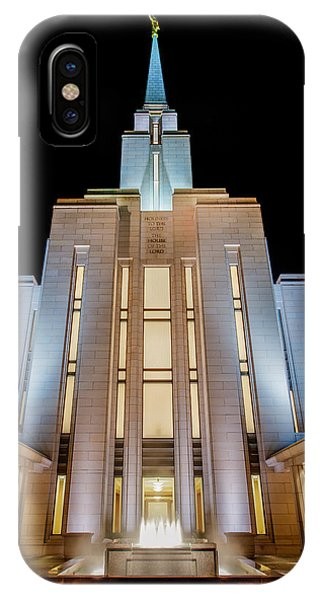 Fog Mist iPhone Case - Oquirrh Mountain Temple 1 by Chad Dutson