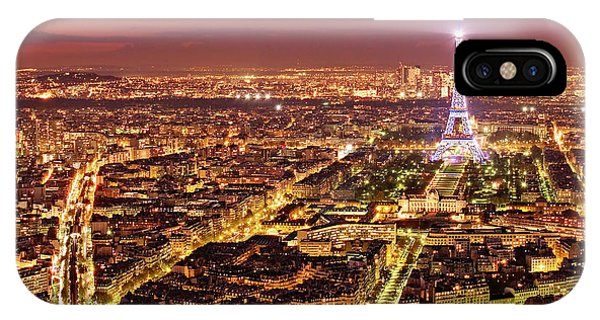 IPhone Case featuring the photograph Paris Cityscape At Night / Paris by Barry O Carroll