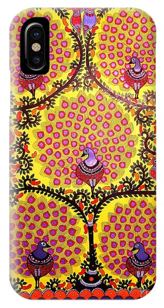 Peacocks-madhubani Paintings IPhone Case