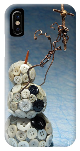 Bone iPhone Case - Snowman Holding Christian Cross Christmas Card by Adam Long