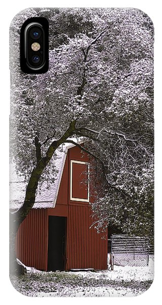 IPhone Case featuring the photograph Snowy Red Barn by Sherri Meyer