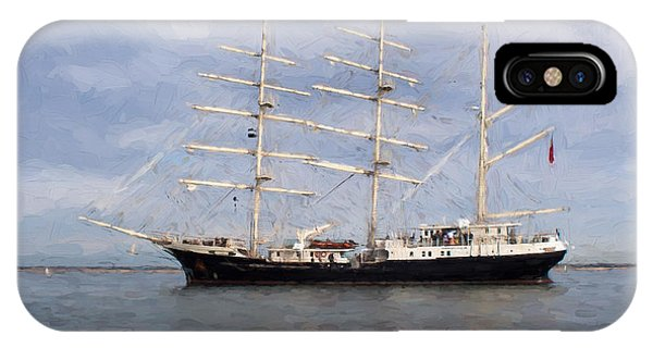 Tall Ship At Anchor Phone Case by Colin Porteous
