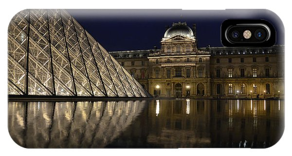 The Louvre Palace And The Pyramid At Night IPhone Case