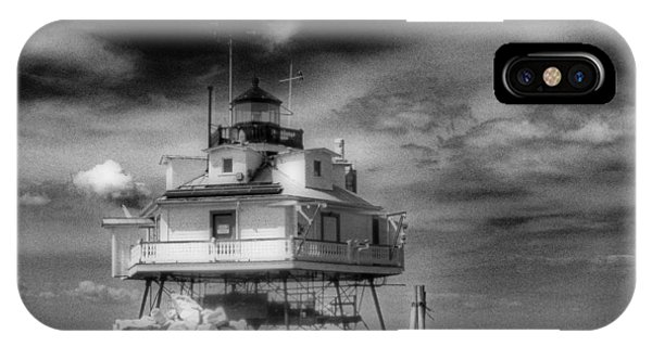View Point iPhone Case - Thomas Point Shoal Lighthouse Black And White by Skip Willits