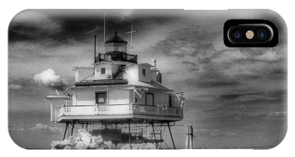 Thomas Point Shoal Lighthouse Bnw IPhone Case
