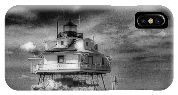 Thomas Point Shoal Lighthouse Black And White IPhone Case