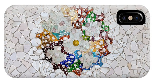 Trencadis Mosaic In Park Guell In Barcelona IPhone Case