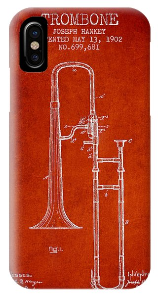 Trombone iPhone Case - Trombone Patent From 1902 - Red by Aged Pixel