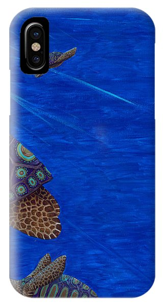 Turtle Painting Bomber Triptych 3 IPhone Case