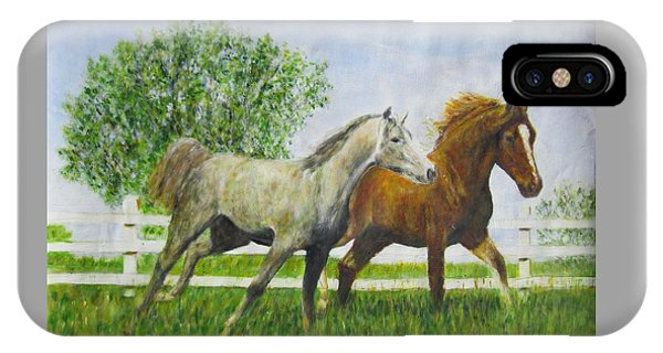 Two Horses Running By White Picket Fence IPhone Case