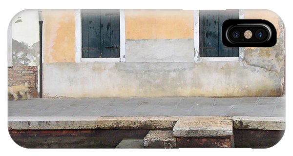 Venice Canal Shutters With Dog And Flowers Horizontal IPhone Case