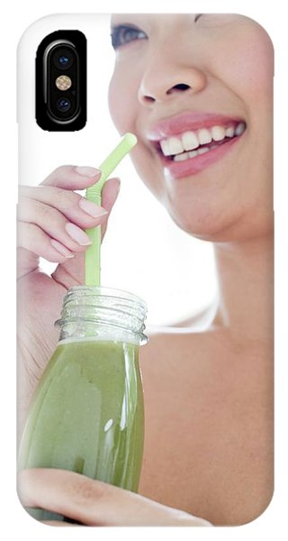 Smoothie iPhone Case - Woman Drinking Green Smoothie by Ian Hooton/science Photo Library
