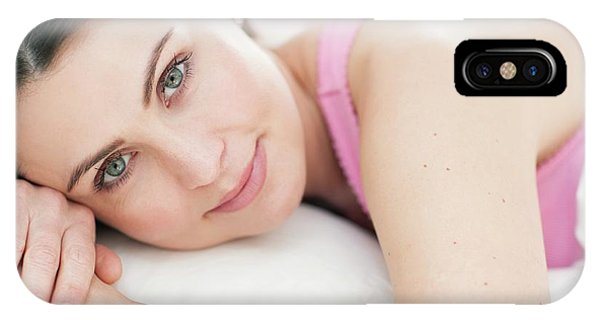 Head And Shoulders iPhone Case - Woman Lying In Bed by Ian Hooton