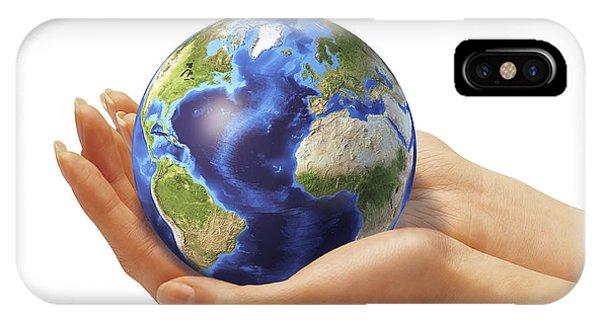 Achievement iPhone Case - Womans Hands Holding An Earth Globe by Leonello Calvetti
