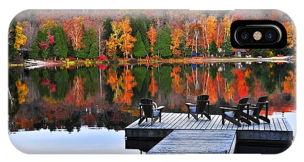 Wooden Dock On Autumn Lake IPhone Case