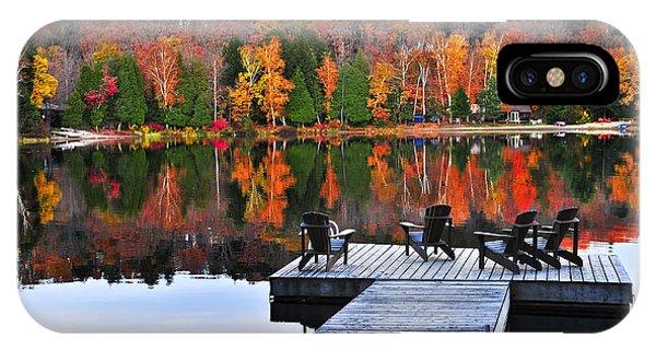 Autumn iPhone X Case - Wooden Dock On Autumn Lake by Elena Elisseeva