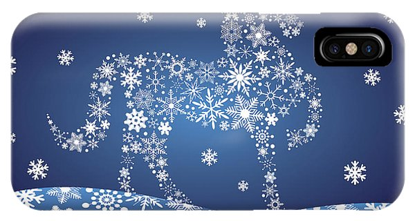 2014 Chinese Horse With Snowflakes Night Winter Scene IPhone Case