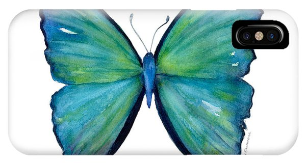 Moth iPhone Case - 21 Blue Aega Butterfly by Amy Kirkpatrick
