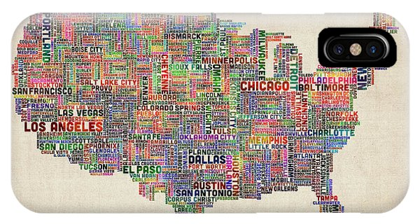 United States Typography Text Map IPhone Case
