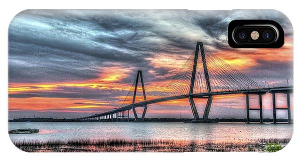 Arthur Ravenel Bridge Stormy Skies IPhone Case