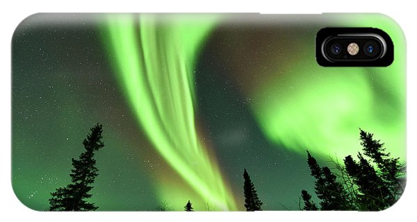 Aurora Borealis Over Trees Phone Case by Dr P. Marazzi