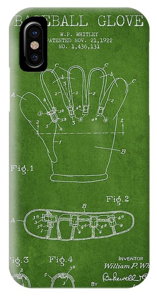 Baseball Glove Patent Drawing From 1922 IPhone Case