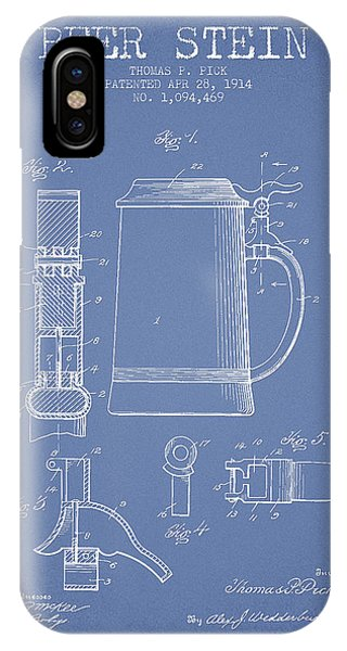 Beer Stein Patent From 1914 - Light Blue IPhone Case