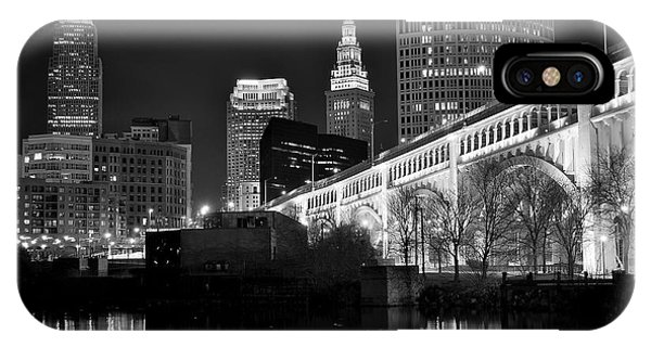 Chicago Skyline Art iPhone Case - Black And White Cleveland Iconic Scene by Frozen in Time Fine Art Photography