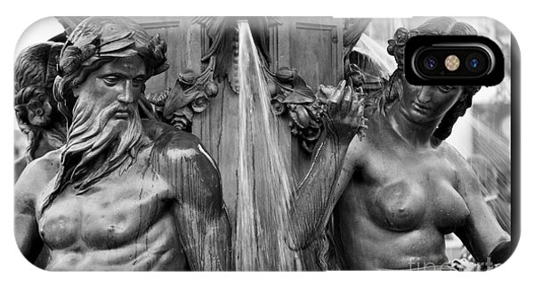 Brewer Fountain Boston Ma Black And White IPhone Case