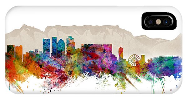 Watercolour iPhone Case - Cape Town South Africa Skyline by Michael Tompsett